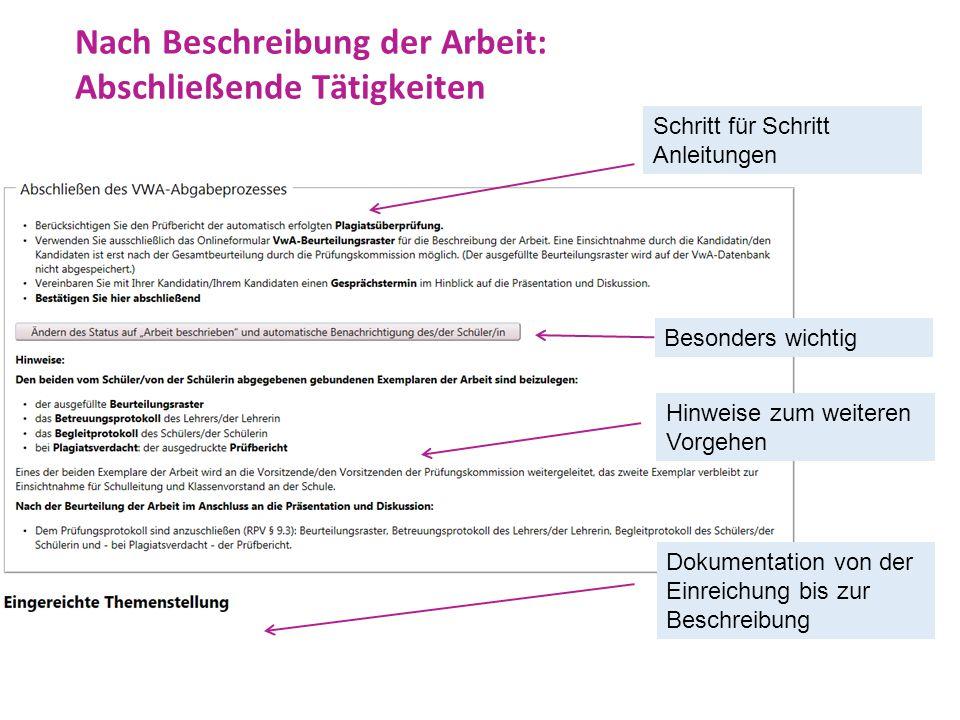 Nach Beschreibung der Arbeit: Abschließende Tätigkeiten Schritt für Schritt Anleitungen Besonders wichtig Hinweise zum weiteren Vorgehen Dokumentation