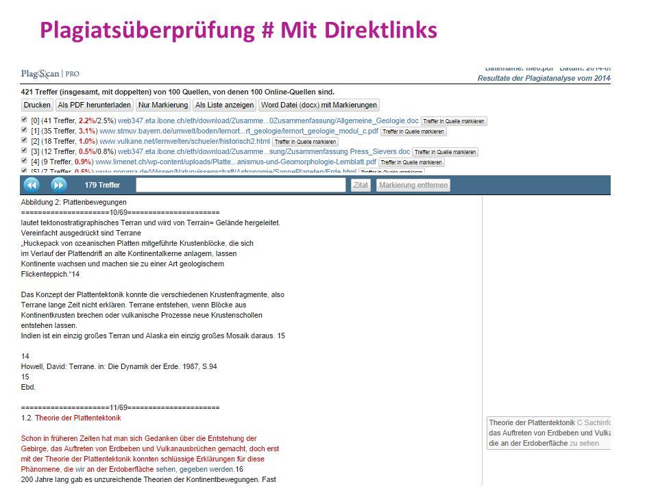 Plagiatsüberprüfung # Mit Direktlinks