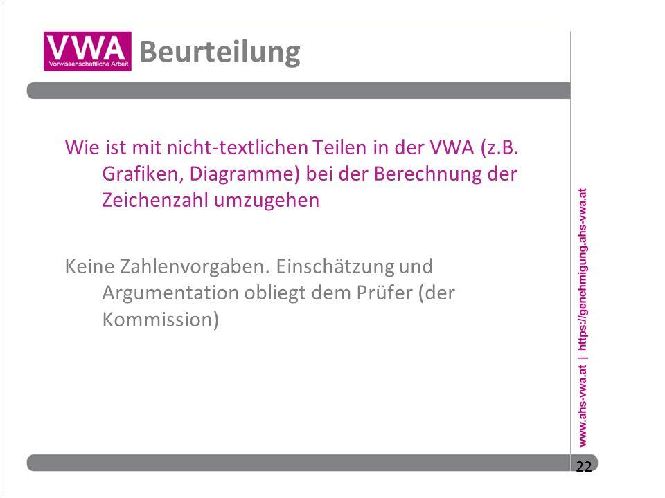 22 Beurteilung Wie ist mit nicht-textlichen Teilen in der VWA (z.B. Grafiken, Diagramme) bei der Berechnung der Zeichenzahl umzugehen Keine Zahlenvorg