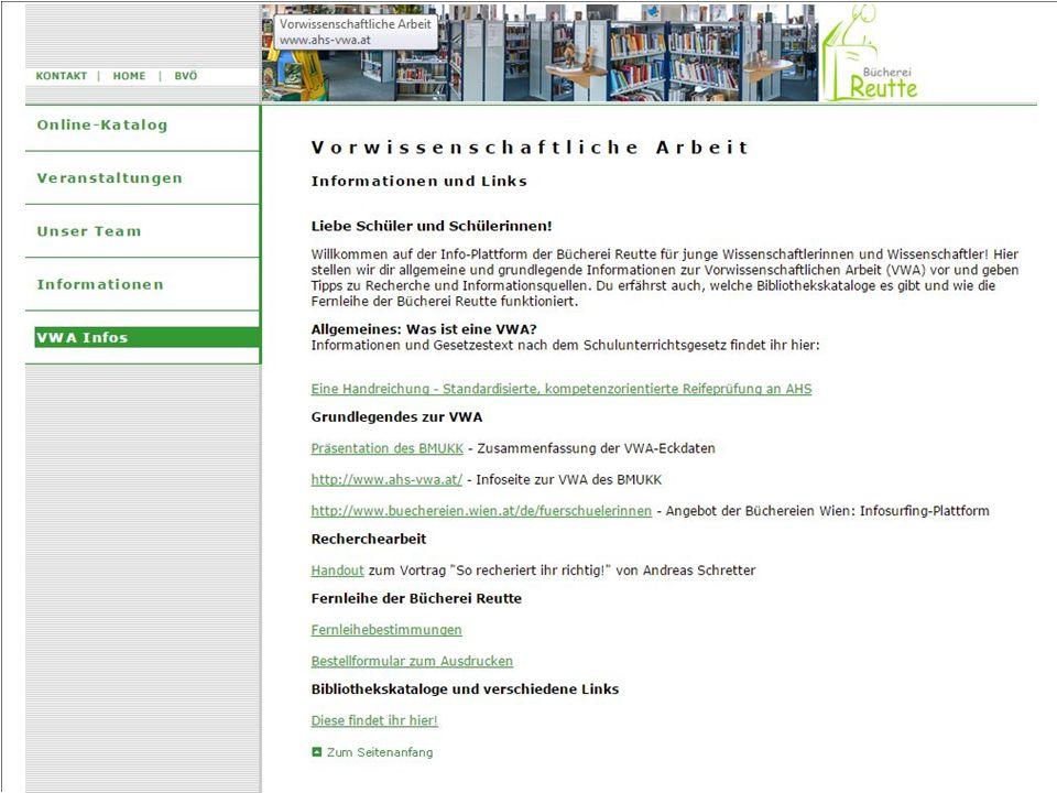 Projektpartner Auswahl: Bücherei Reutte Persönliche Beratung Infoveranstaltung Bibliotheksführung
