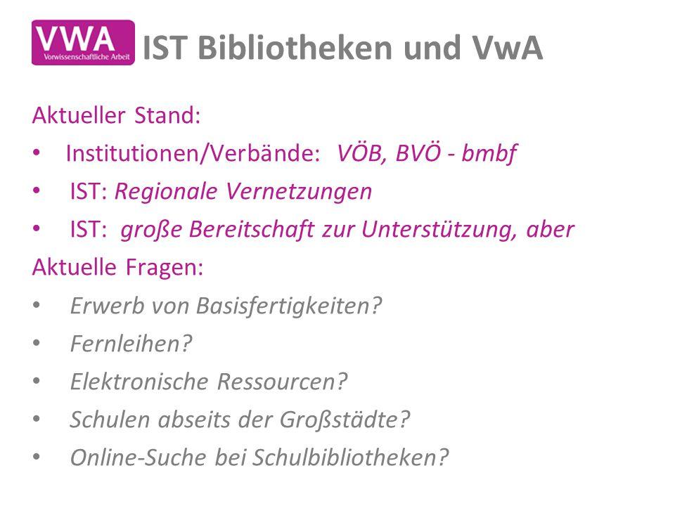 IST Bibliotheken und VwA Aktueller Stand: Institutionen/Verbände: VÖB, BVÖ - bmbf IST: Regionale Vernetzungen IST: große Bereitschaft zur Unterstützun