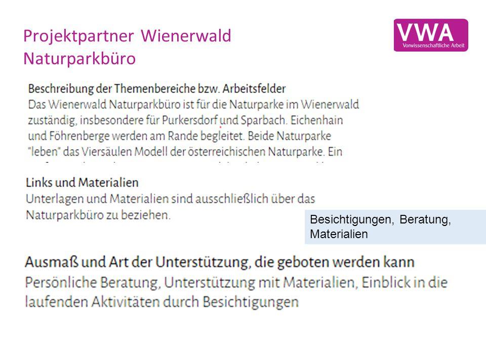 Projektpartner Wienerwald Naturparkbüro Besichtigungen, Beratung, Materialien
