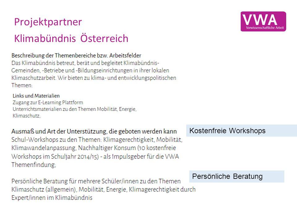Projektpartner Klimabündnis Österreich Kostenfreie Workshops Persönliche Beratung