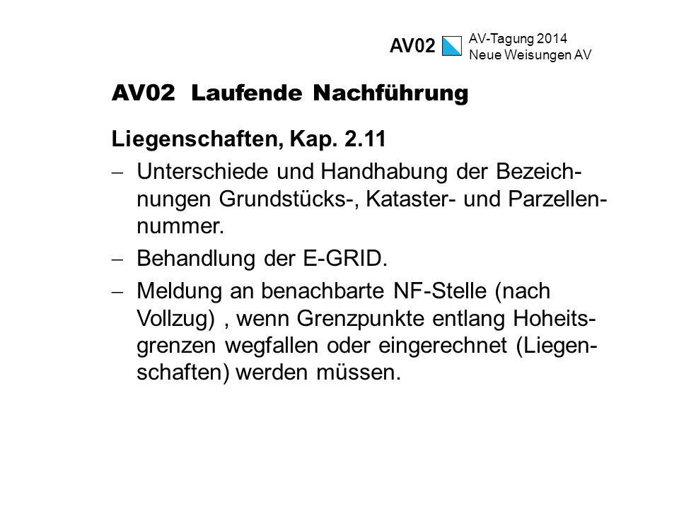 AV-Tagung 2014 Neue Weisungen AV AV02 Laufende Nachführung Liegenschaften, Kap. 2.11  Unterschiede und Handhabung der Bezeich- nungen Grundstücks-, K
