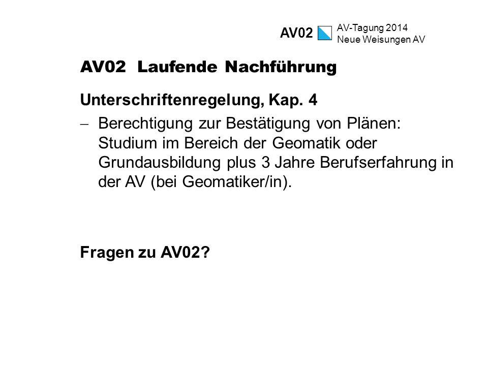 AV-Tagung 2014 Neue Weisungen AV AV02 Laufende Nachführung Unterschriftenregelung, Kap. 4  Berechtigung zur Bestätigung von Plänen: Studium im Bereic