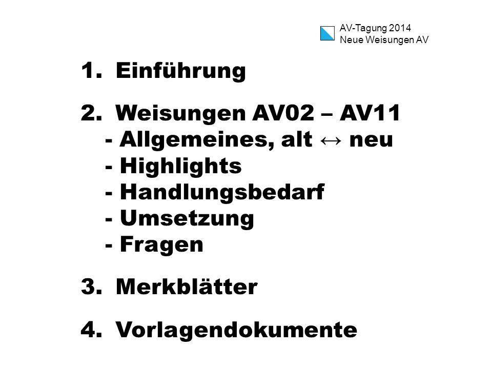 AV-Tagung 2014 Neue Weisungen AV 1.Einführung 2.Weisungen AV02 – AV11 - Allgemeines, alt ↔ neu - Highlights - Handlungsbedarf - Umsetzung - Fragen 3.M