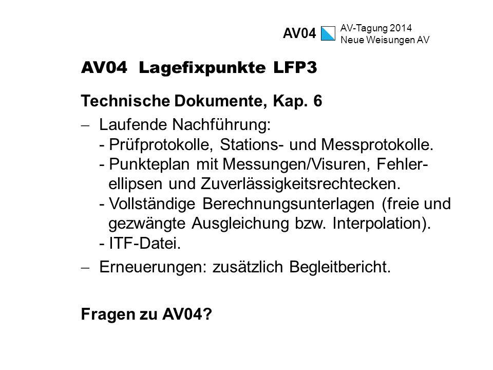AV-Tagung 2014 Neue Weisungen AV AV04 Lagefixpunkte LFP3 Technische Dokumente, Kap. 6  Laufende Nachführung: - Prüfprotokolle, Stations- und Messprot