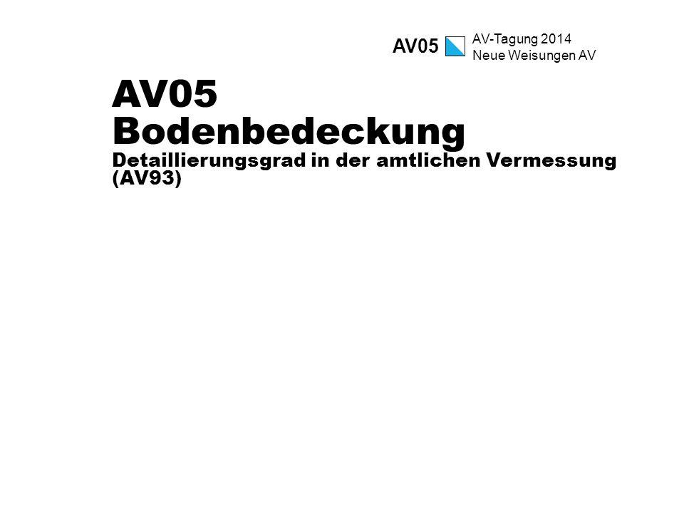 AV-Tagung 2014 Neue Weisungen AV AV05 Bodenbedeckung Detaillierungsgrad in der amtlichen Vermessung (AV93) AV05