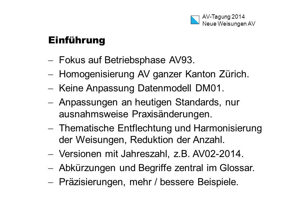 AV-Tagung 2014 Neue Weisungen AV Einführung  Fokus auf Betriebsphase AV93.  Homogenisierung AV ganzer Kanton Zürich.  Keine Anpassung Datenmodell D