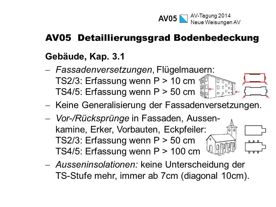 AV-Tagung 2014 Neue Weisungen AV AV05 Detaillierungsgrad Bodenbedeckung Gebäude, Kap. 3.1  Fassadenversetzungen, Flügelmauern: TS2/3: Erfassung wenn