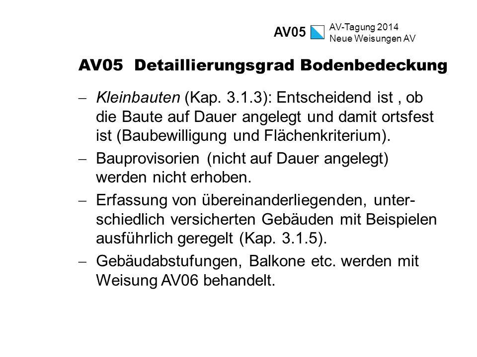 AV-Tagung 2014 Neue Weisungen AV AV05 Detaillierungsgrad Bodenbedeckung  Kleinbauten (Kap. 3.1.3): Entscheidend ist, ob die Baute auf Dauer angelegt