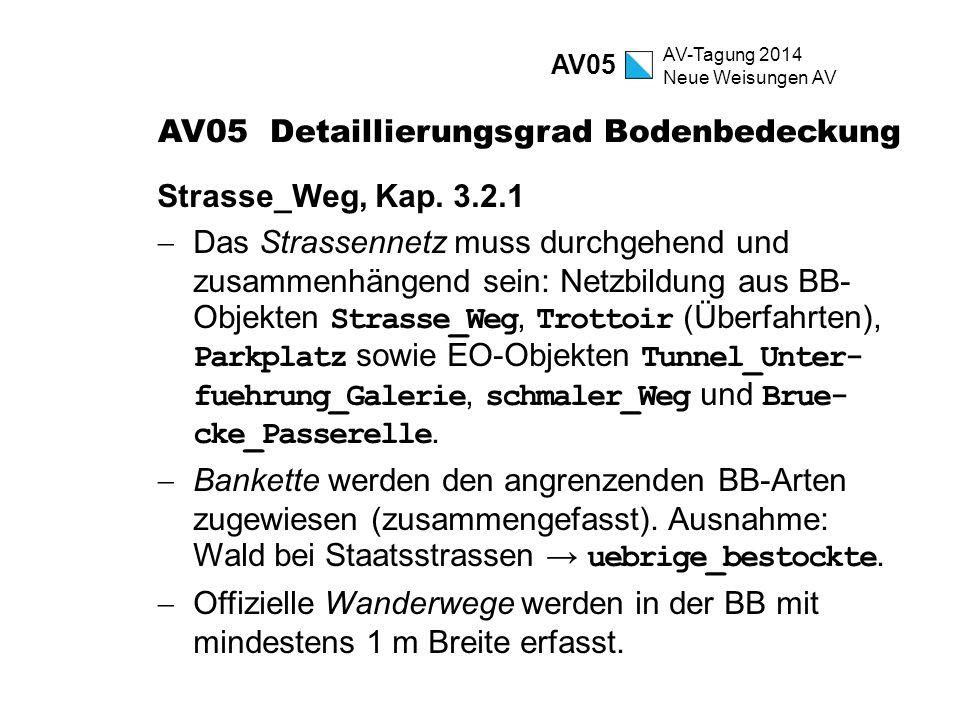 AV-Tagung 2014 Neue Weisungen AV AV05 Detaillierungsgrad Bodenbedeckung Strasse_Weg, Kap. 3.2.1  Das Strassennetz muss durchgehend und zusammenhängen
