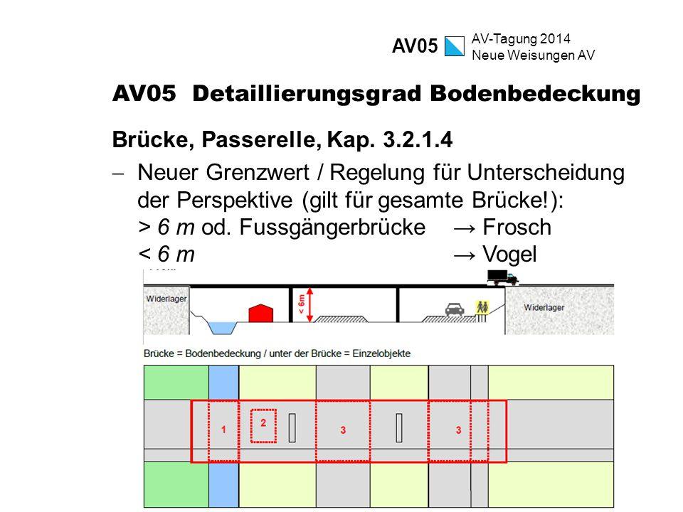 AV-Tagung 2014 Neue Weisungen AV AV05 Detaillierungsgrad Bodenbedeckung Brücke, Passerelle, Kap. 3.2.1.4  Neuer Grenzwert / Regelung für Unterscheidu