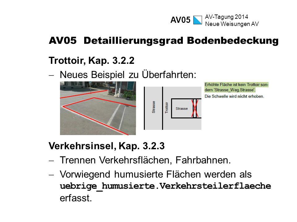 AV-Tagung 2014 Neue Weisungen AV AV05 Detaillierungsgrad Bodenbedeckung Trottoir, Kap. 3.2.2  Neues Beispiel zu Überfahrten: Verkehrsinsel, Kap. 3.2.