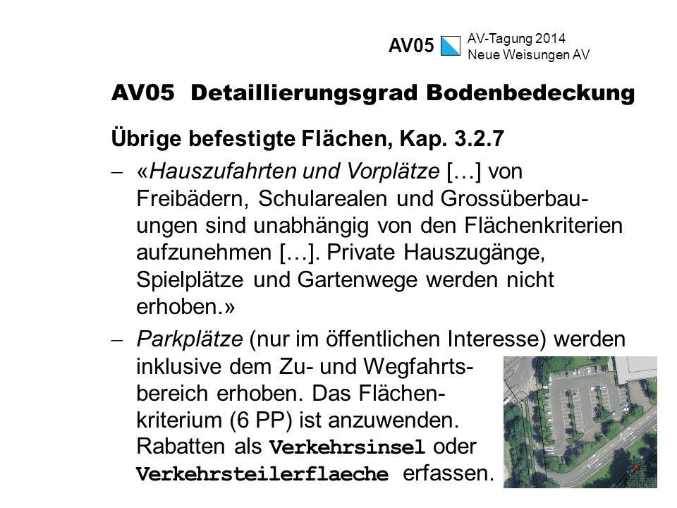 AV-Tagung 2014 Neue Weisungen AV AV05 Detaillierungsgrad Bodenbedeckung Übrige befestigte Flächen, Kap. 3.2.7  «Hauszufahrten und Vorplätze […] von F