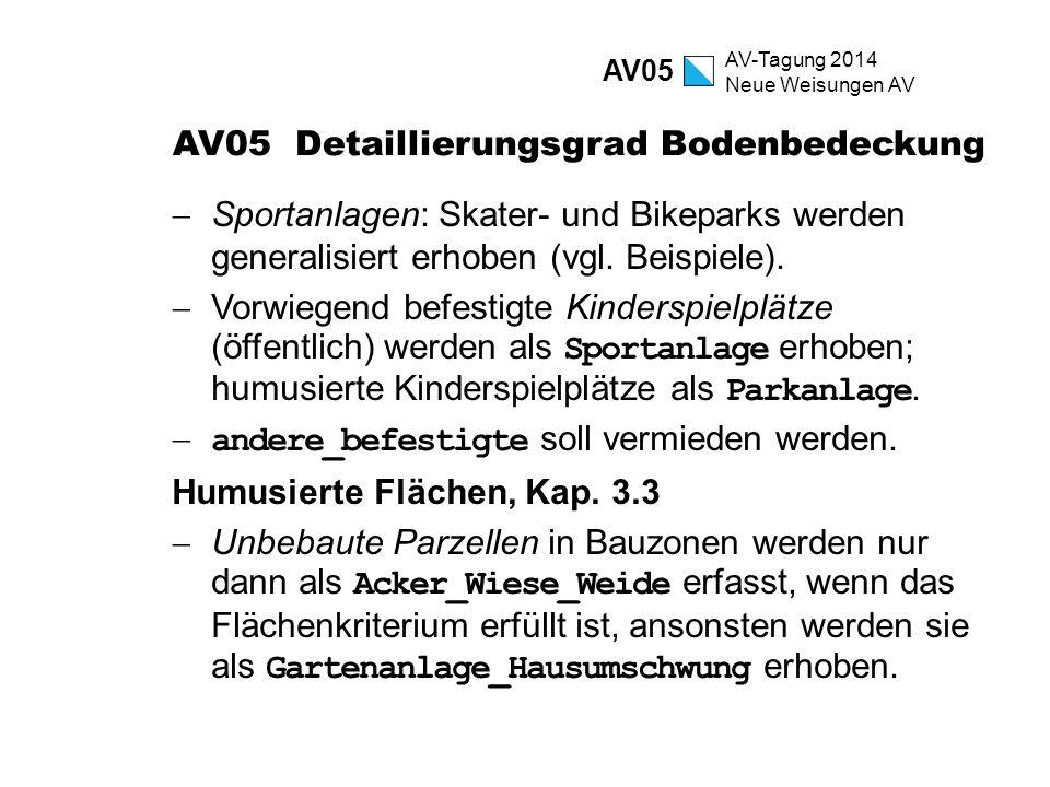AV-Tagung 2014 Neue Weisungen AV AV05 Detaillierungsgrad Bodenbedeckung  Sportanlagen: Skater- und Bikeparks werden generalisiert erhoben (vgl. Beisp