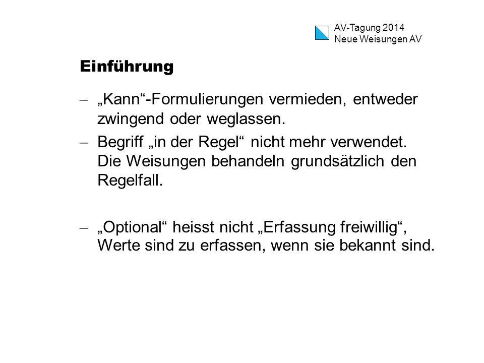 """AV-Tagung 2014 Neue Weisungen AV Einführung  """"Kann""""-Formulierungen vermieden, entweder zwingend oder weglassen.  Begriff """"in der Regel"""" nicht mehr v"""