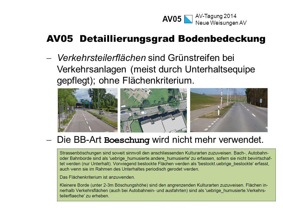 AV-Tagung 2014 Neue Weisungen AV AV05 Detaillierungsgrad Bodenbedeckung  Verkehrsteilerflächen sind Grünstreifen bei Verkehrsanlagen (meist durch Unt