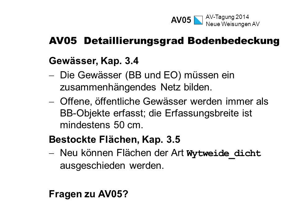 AV-Tagung 2014 Neue Weisungen AV AV05 Detaillierungsgrad Bodenbedeckung Gewässer, Kap. 3.4  Die Gewässer (BB und EO) müssen ein zusammenhängendes Net