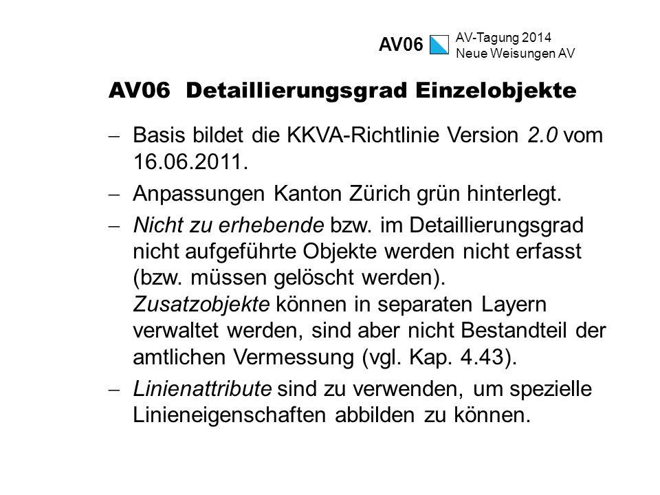 AV-Tagung 2014 Neue Weisungen AV AV06 Detaillierungsgrad Einzelobjekte  Basis bildet die KKVA-Richtlinie Version 2.0 vom 16.06.2011.  Anpassungen Ka