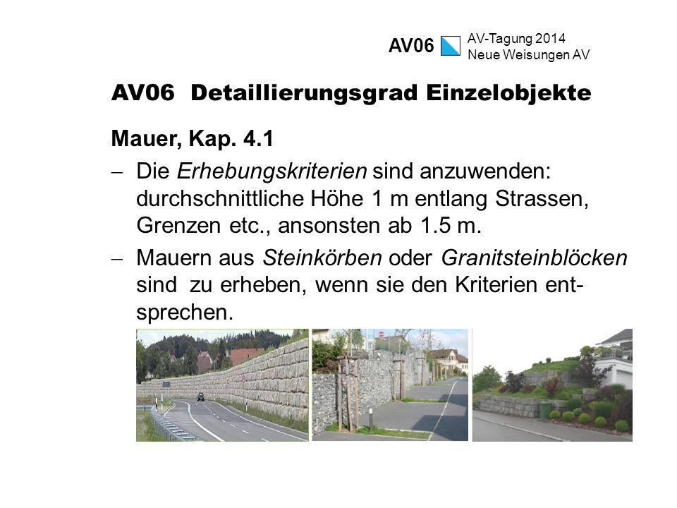 AV-Tagung 2014 Neue Weisungen AV AV06 Detaillierungsgrad Einzelobjekte Mauer, Kap. 4.1  Die Erhebungskriterien sind anzuwenden: durchschnittliche Höh