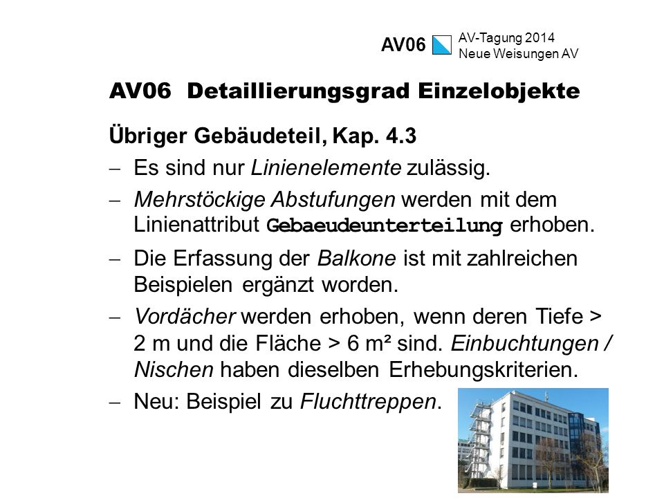 AV-Tagung 2014 Neue Weisungen AV AV06 Detaillierungsgrad Einzelobjekte Übriger Gebäudeteil, Kap. 4.3  Es sind nur Linienelemente zulässig.  Mehrstöc