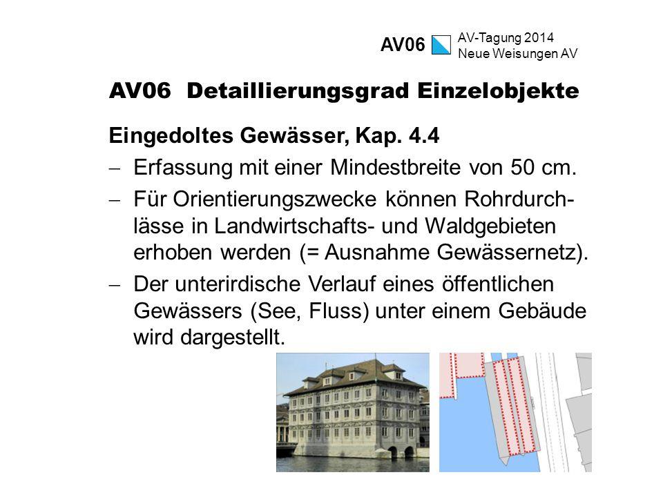 AV-Tagung 2014 Neue Weisungen AV AV06 Detaillierungsgrad Einzelobjekte Eingedoltes Gewässer, Kap. 4.4  Erfassung mit einer Mindestbreite von 50 cm. 