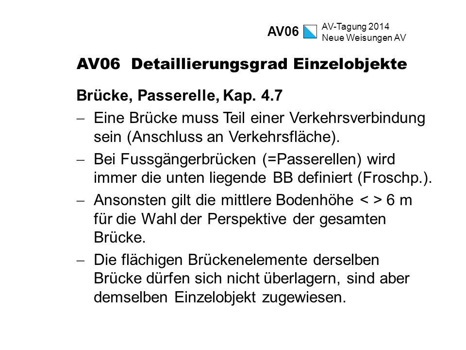 AV-Tagung 2014 Neue Weisungen AV AV06 Detaillierungsgrad Einzelobjekte Brücke, Passerelle, Kap. 4.7  Eine Brücke muss Teil einer Verkehrsverbindung s
