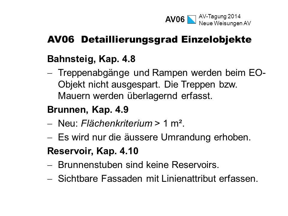 AV-Tagung 2014 Neue Weisungen AV AV06 Detaillierungsgrad Einzelobjekte Bahnsteig, Kap. 4.8  Treppenabgänge und Rampen werden beim EO- Objekt nicht au