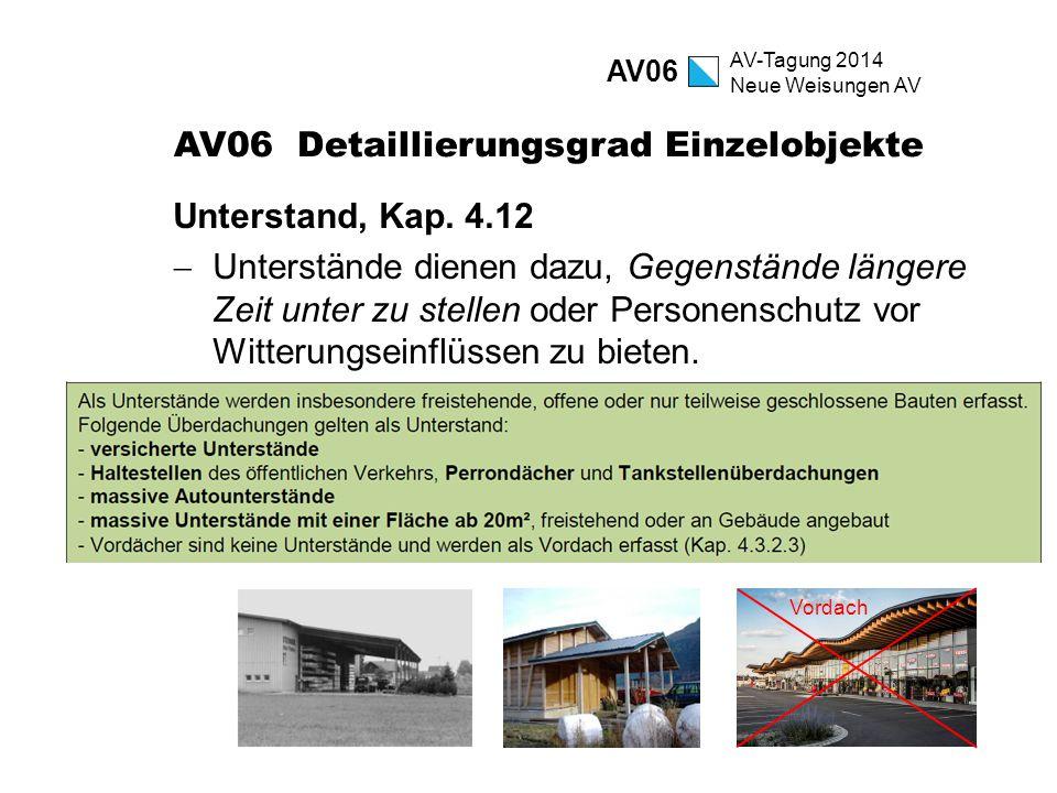 AV-Tagung 2014 Neue Weisungen AV AV06 Detaillierungsgrad Einzelobjekte Unterstand, Kap. 4.12  Unterstände dienen dazu, Gegenstände längere Zeit unter