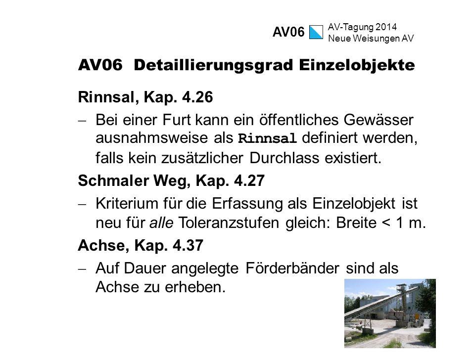 AV-Tagung 2014 Neue Weisungen AV AV06 Detaillierungsgrad Einzelobjekte Rinnsal, Kap. 4.26  Bei einer Furt kann ein öffentliches Gewässer ausnahmsweis