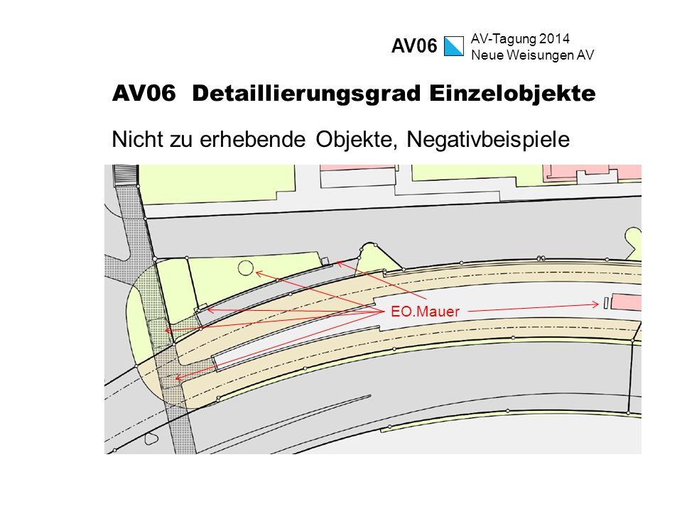 AV-Tagung 2014 Neue Weisungen AV AV06 Detaillierungsgrad Einzelobjekte Nicht zu erhebende Objekte, Negativbeispiele AV06 EO.Mauer