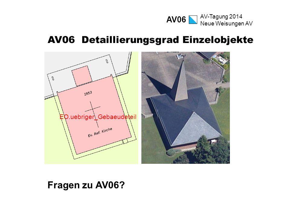 AV-Tagung 2014 Neue Weisungen AV AV06 Detaillierungsgrad Einzelobjekte Fragen zu AV06? AV06 EO.uebriger_Gebaeudeteil