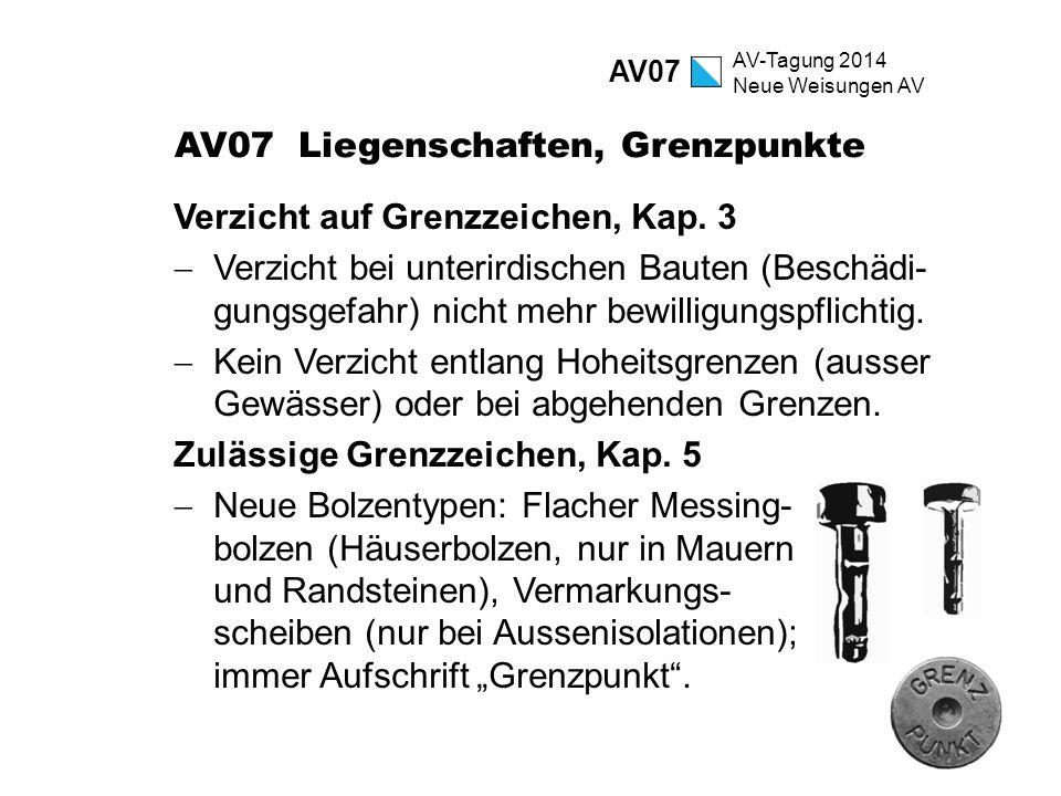 AV-Tagung 2014 Neue Weisungen AV AV07 Liegenschaften, Grenzpunkte Verzicht auf Grenzzeichen, Kap. 3  Verzicht bei unterirdischen Bauten (Beschädi- gu