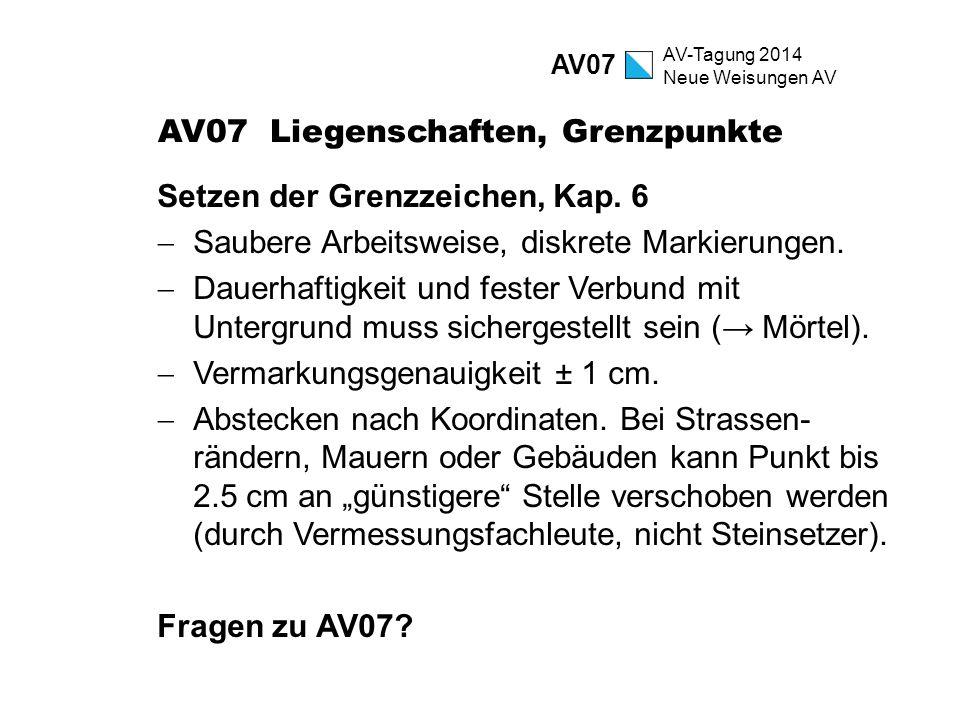 AV-Tagung 2014 Neue Weisungen AV AV07 Liegenschaften, Grenzpunkte Setzen der Grenzzeichen, Kap. 6  Saubere Arbeitsweise, diskrete Markierungen.  Dau