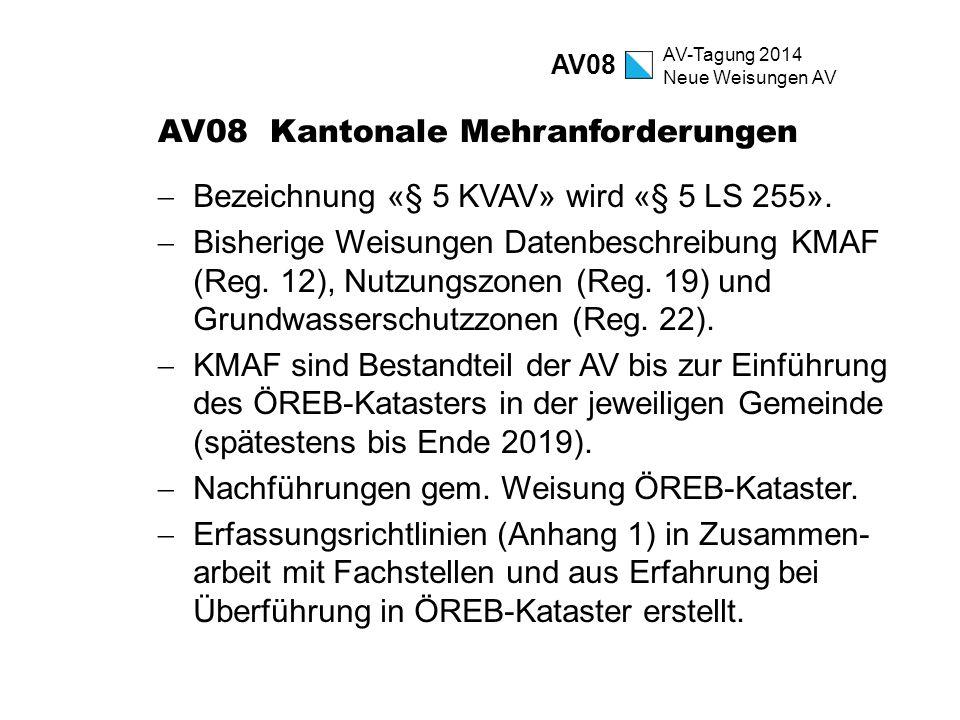 AV-Tagung 2014 Neue Weisungen AV AV08 Kantonale Mehranforderungen  Bezeichnung «§ 5 KVAV» wird «§ 5 LS 255».  Bisherige Weisungen Datenbeschreibung