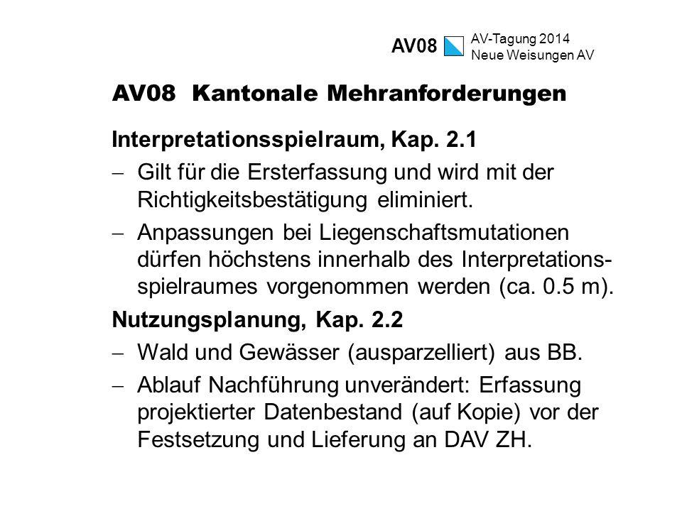 AV-Tagung 2014 Neue Weisungen AV AV08 Kantonale Mehranforderungen Interpretationsspielraum, Kap. 2.1  Gilt für die Ersterfassung und wird mit der Ric