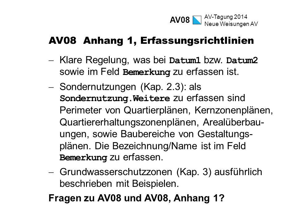 AV-Tagung 2014 Neue Weisungen AV AV08 Anhang 1, Erfassungsrichtlinien  Klare Regelung, was bei Datum1 bzw. Datum2 sowie im Feld Bemerkung zu erfassen