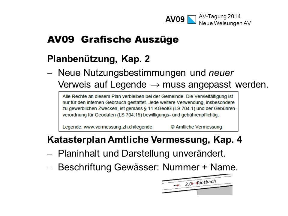 AV-Tagung 2014 Neue Weisungen AV AV09 Grafische Auszüge Planbenützung, Kap. 2  Neue Nutzungsbestimmungen und neuer Verweis auf Legende → muss angepas