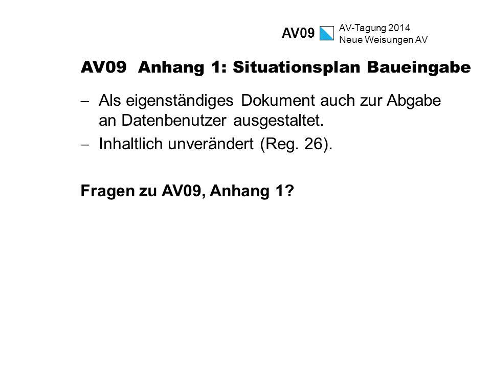 AV-Tagung 2014 Neue Weisungen AV AV09 Anhang 1: Situationsplan Baueingabe  Als eigenständiges Dokument auch zur Abgabe an Datenbenutzer ausgestaltet.