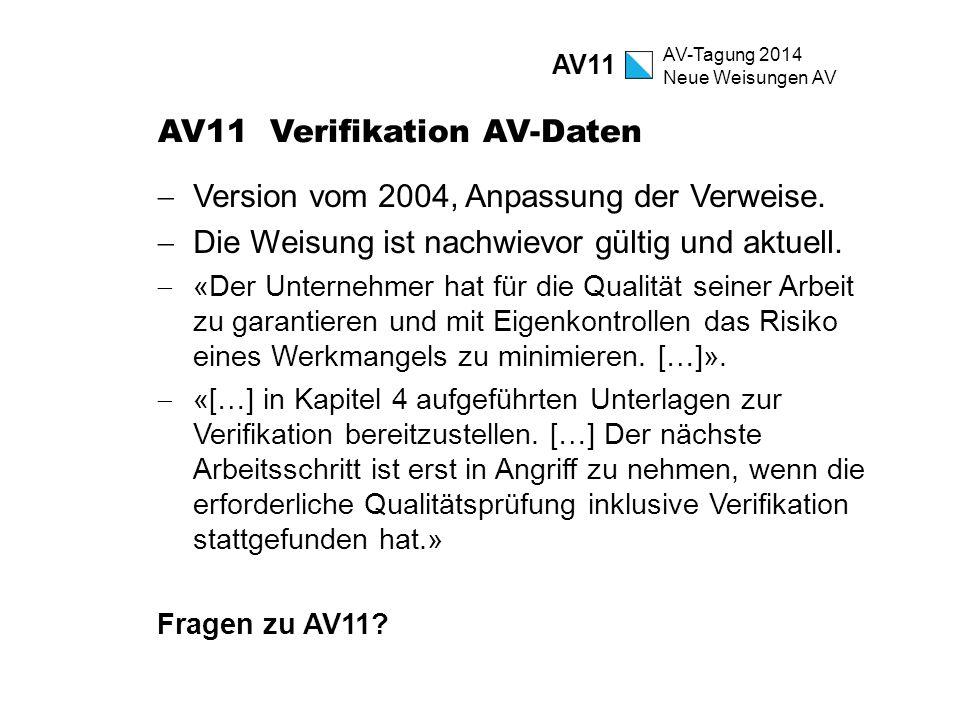 AV-Tagung 2014 Neue Weisungen AV AV11 Verifikation AV-Daten  Version vom 2004, Anpassung der Verweise.  Die Weisung ist nachwievor gültig und aktuel