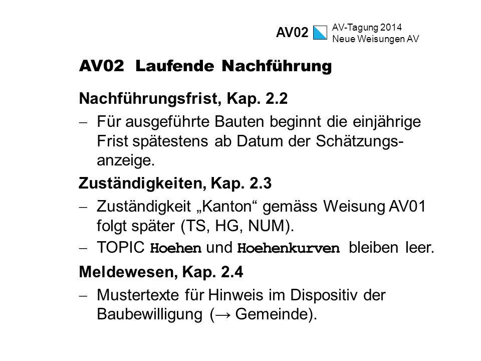 AV-Tagung 2014 Neue Weisungen AV AV02 Laufende Nachführung Nachführungsfrist, Kap. 2.2  Für ausgeführte Bauten beginnt die einjährige Frist spätesten