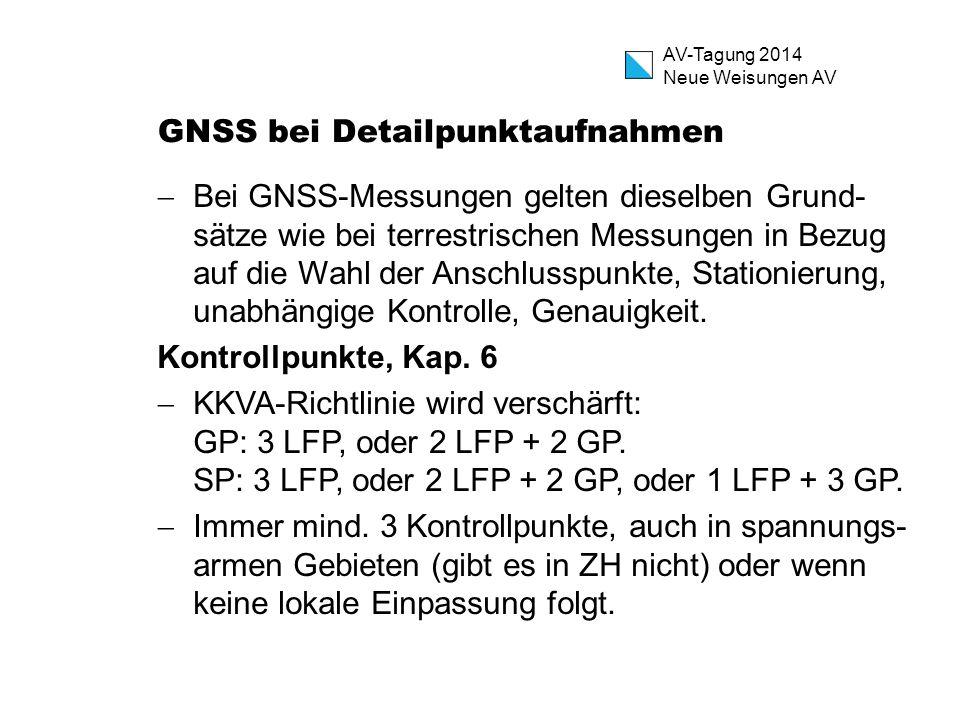 AV-Tagung 2014 Neue Weisungen AV GNSS bei Detailpunktaufnahmen  Bei GNSS-Messungen gelten dieselben Grund- sätze wie bei terrestrischen Messungen in
