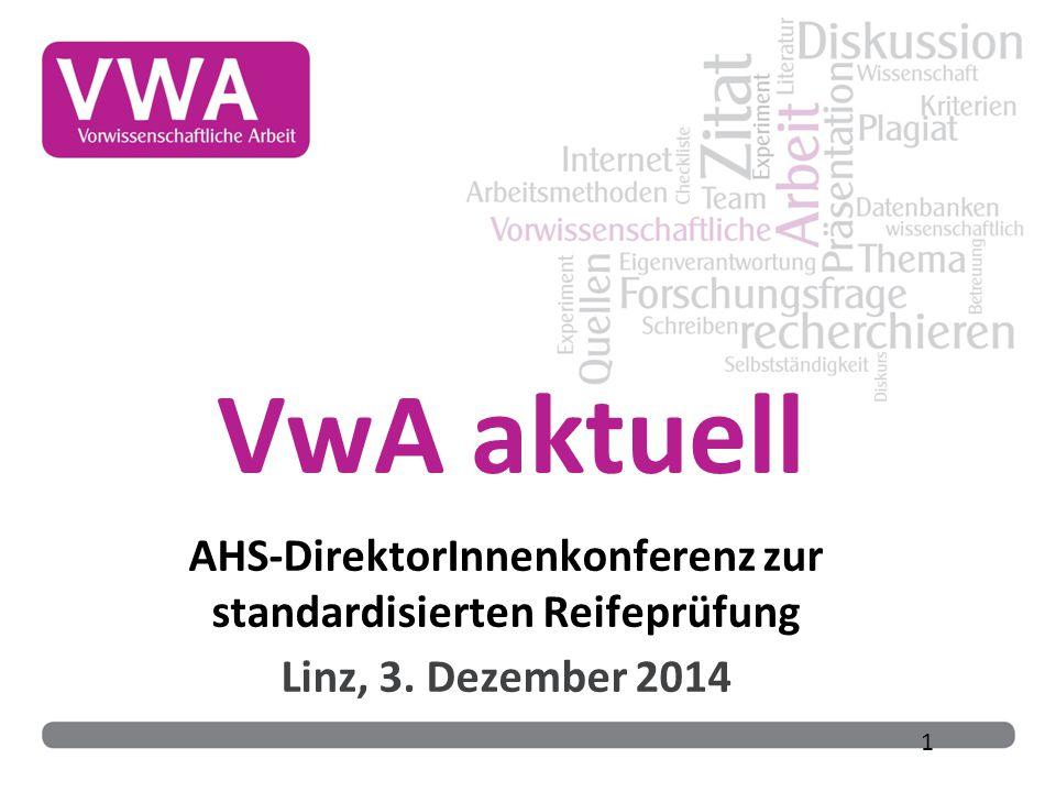 AHS-DirektorInnenkonferenz zur standardisierten Reifeprüfung Linz, 3. Dezember 2014 1 VwA aktuell