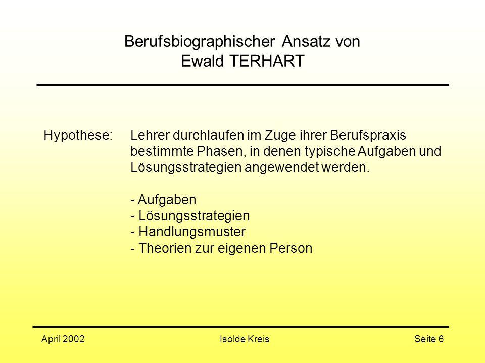 Isolde KreisApril 2002Seite 6 Berufsbiographischer Ansatz von Ewald TERHART Hypothese: Lehrer durchlaufen im Zuge ihrer Berufspraxis bestimmte Phasen, in denen typische Aufgaben und Lösungsstrategien angewendet werden.