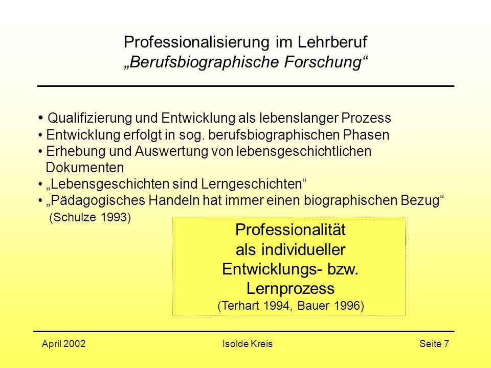 """Isolde KreisApril 2002Seite 7 Professionalisierung im Lehrberuf """"Berufsbiographische Forschung Qualifizierung und Entwicklung als lebenslanger Prozess Entwicklung erfolgt in sog."""