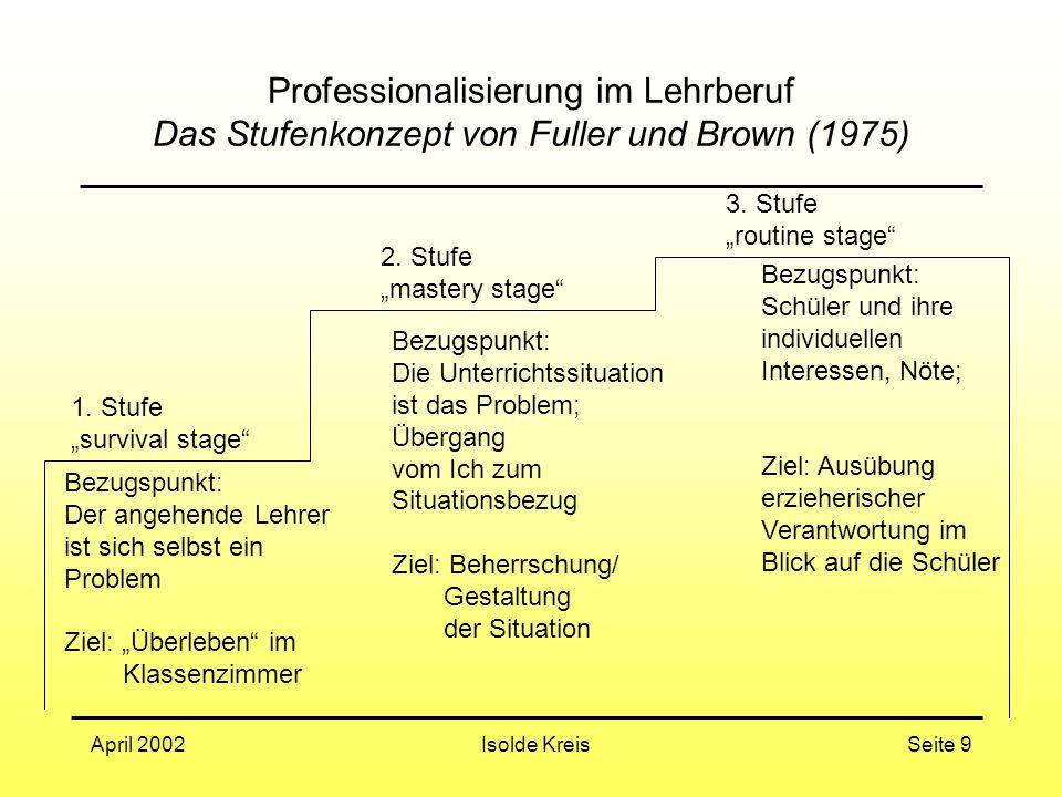 Isolde KreisApril 2002Seite 9 Professionalisierung im Lehrberuf Das Stufenkonzept von Fuller und Brown (1975) Bezugspunkt: Der angehende Lehrer ist si