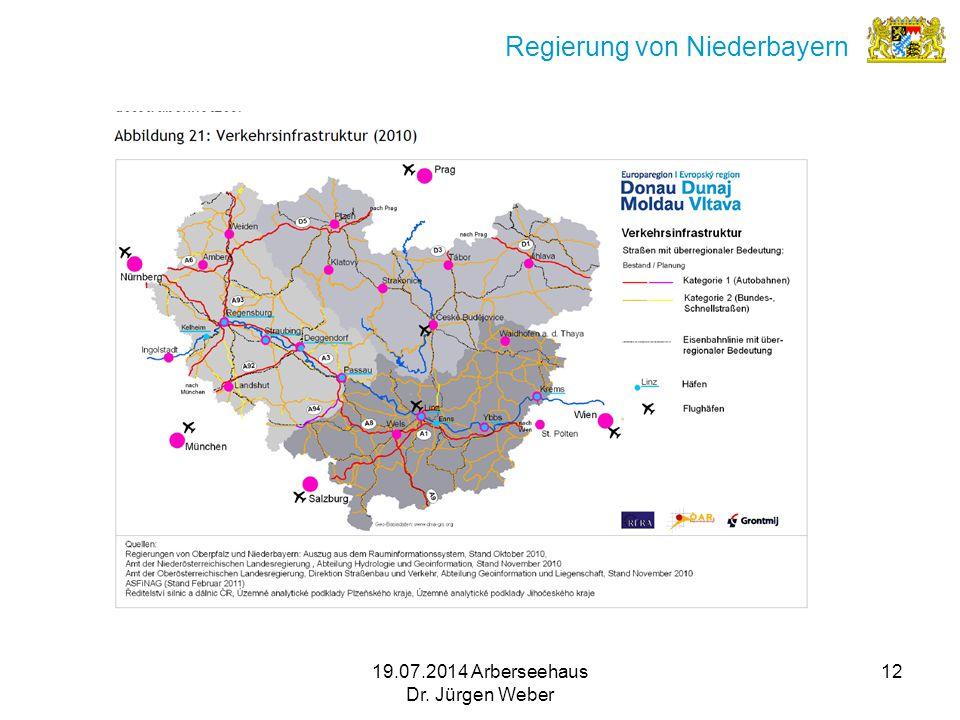 19.07.2014 Arberseehaus Dr. Jürgen Weber 12 Regierung von Niederbayern