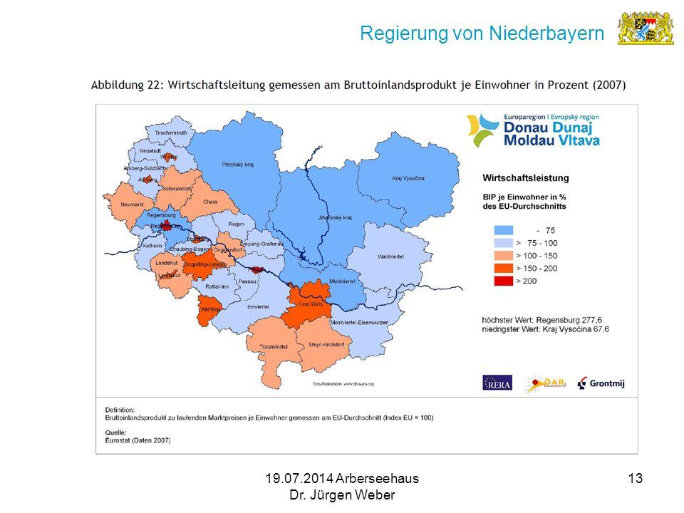 19.07.2014 Arberseehaus Dr. Jürgen Weber 13 Regierung von Niederbayern