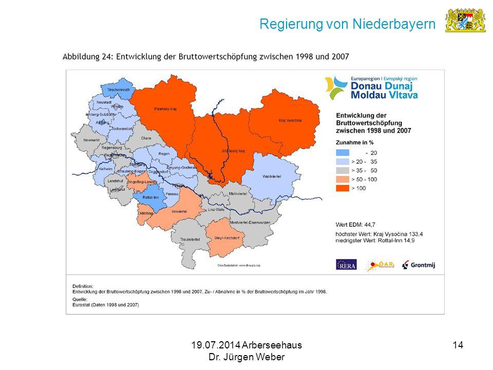 19.07.2014 Arberseehaus Dr. Jürgen Weber 14 Regierung von Niederbayern